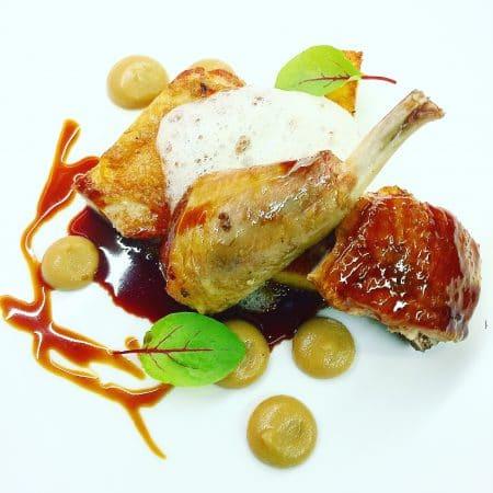 Guinea Fowl - Tasting of Guinea Fowl, Shallot, Pear, Meadowsweet, Polenta